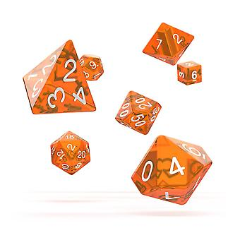 Oakie Doakie Dice RPG Set (Orange translucide)