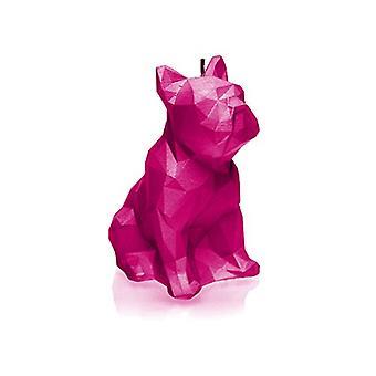 Vaaleanpunainen korkea kiiltävä Bulldog low poly kynttilä