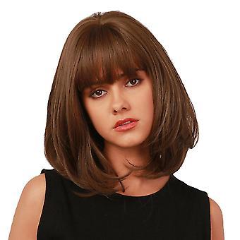 Dark brown short straight hair bangs bob head full head cover wig