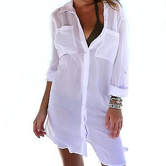 Μπικίνι κάλυψη μέχρι Creasing ύφασμα διπλές τσέπες hiddern κουμπί beachwear μπλούζα