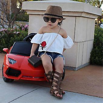Baby Girl Summer Off váll rövid ujjú póló farmer nadrág outfit set