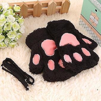 Schöne Frauen Katze Klaue Pfote Fäustlinge Plüsch Handschuh Kostüm Geschenk Winter halber Finger