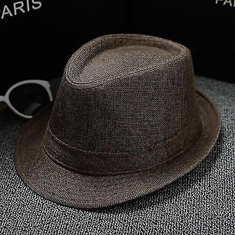 Herren Fedoras Jazz Plaid Hut, Sommer & Herbst Bowler Cap (Braun)
