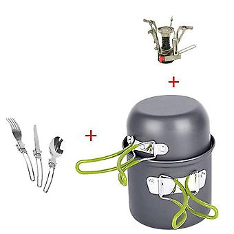 Outdoor hiking camping cookware set 1-2 persons portable cooking tableware picnic  pot pans bowls with dinnerware gas stove
