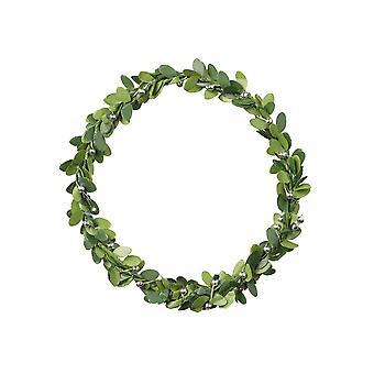 9cm Runder Kranz | Künstliche Blätter & Silber Dekoration