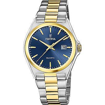 Festina F20554-4 Men's Blue Dial Two Tone Bracelet Wristwatch
