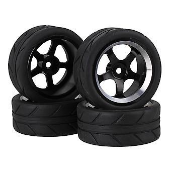 Remote control toy accessories 4pcs black arrow rubber tyre tire+5 spoke alloy wheel rim for rc1:10 on road car