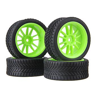 Remote control toy accessories 4pcs rc1:10 on road car green 12-spoke wheel rim& single oriented rubber tyre