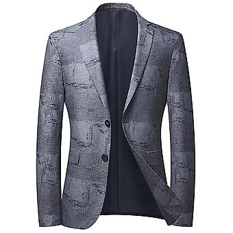 Mile Men's Color Matching Single Row Two Buttons No Slit Casual Suit Blu Grigio