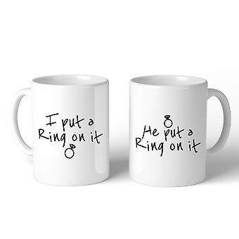Anello su di esso coppia boccale carina fidanzamento regali Set bicchieri di corrispondenza
