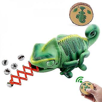 Remote control chameleon, led lights, meal catching action tongue mz1137