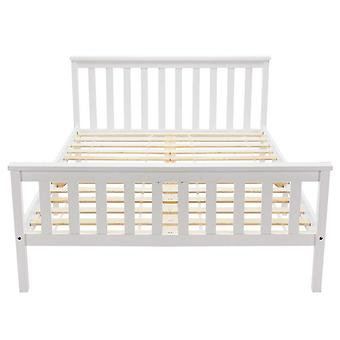 Wooden Double Bed Frame In White For Adults, Kids, Teenagers