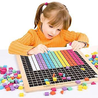 Interlocking blocks kids wooden pixel blocks puzzle toy montessori early education toy geometry jigsaw tangram