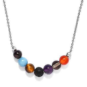 TJC Multi Gemstone Collar Necklace in Silver Gift for Wife/Mother 18 '' 10ct