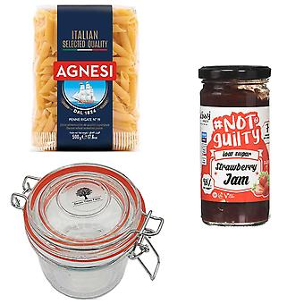 Seven Trees Farm Kit with 4 Products | 1 x Glass Jar 350ml, 1 x Strawberry Jam 260g, 1 x Agnesi Italian Penne Pasta 500g and a FREE Recycle Tree Bag