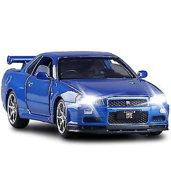 Qian 1/32 Alloy R34 Skyline Gtr Toy Car Model (niebieski)
