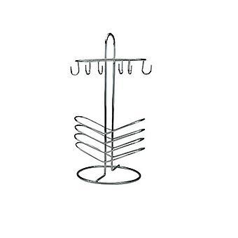 Elegant 6 ceașcă și farfurie Crom Bucătărie Suport Drainer