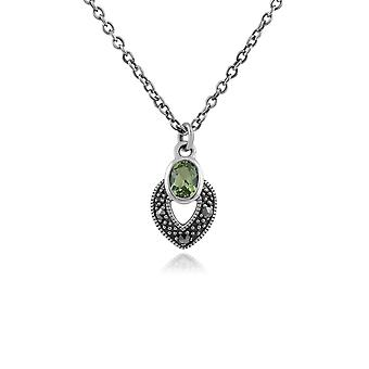 Art Deco Style Oval Peridot & Marcasite Necklace in 925 Sterling Silver 214N688206925