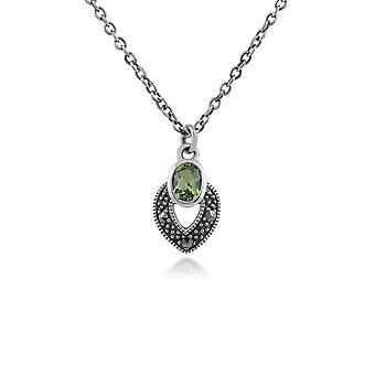 Gemondo Sterling Silver Art déco péridot & marcassite collier