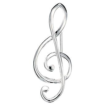 925 Silver Treble Clef Brooch