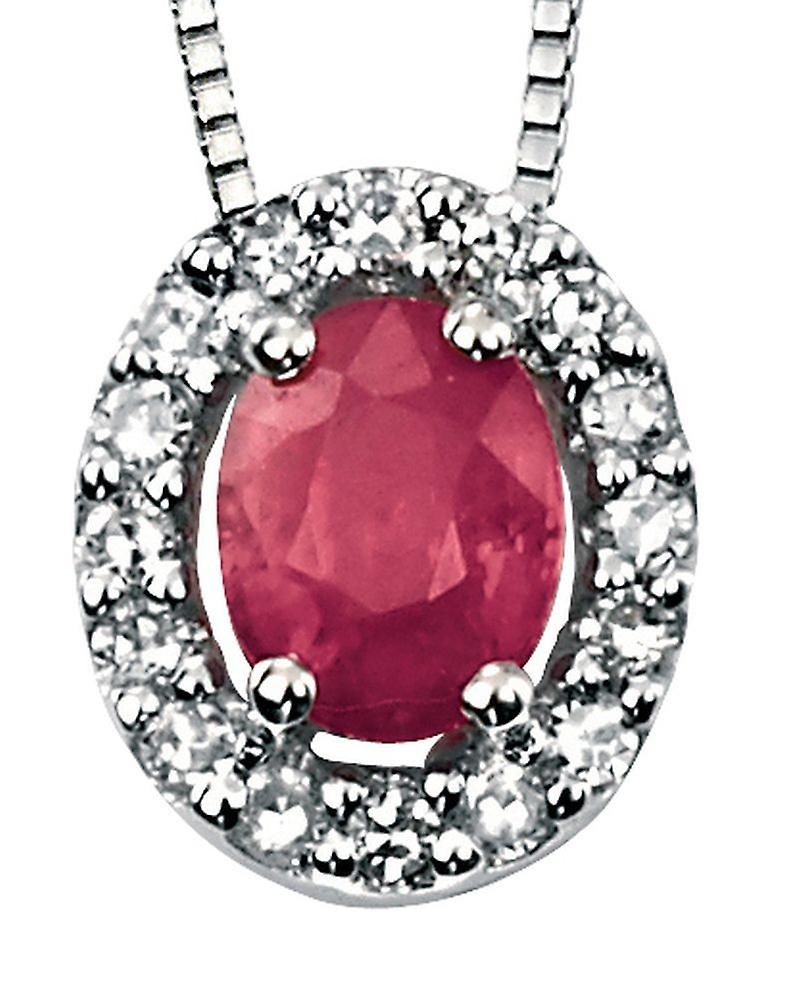 9 CT White Gold Ruby And Diamond Necklace