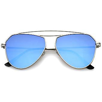 Modern Metal Frame Double Bridge Colored Mirror Flat Lens Aviator Sunglasses 52mm