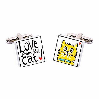 Sonia Spencer amor dos botões de punho de gato - porcelana inglesa mão Crafted abotoaduras