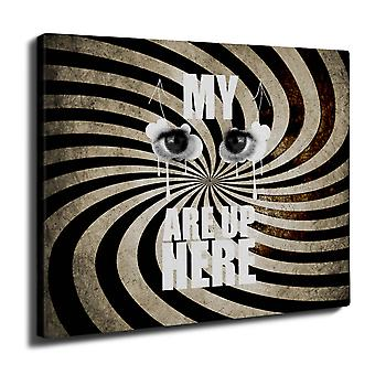 Eyes Up Here Joke Funny Wall Art Canvas 40cm x 30cm | Wellcoda