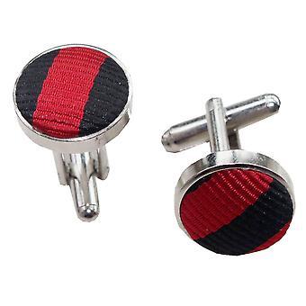 Schwarz & rot dünnen Streifen Manschettenknöpfe