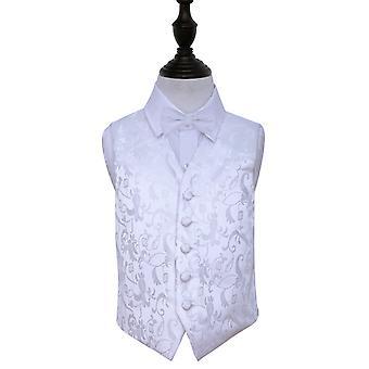 White Floral Wedding Vest & Bow Tie Set voor jongens