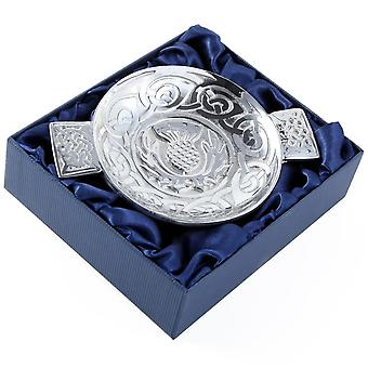 Celtic Knotwork Thistle Pewter Quaich