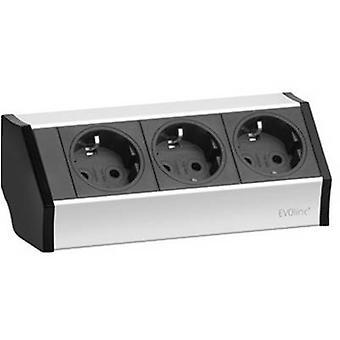 EVOline 159360001300 Socket strip (w/o switch) 3x Black, Silver 1 pc(s)