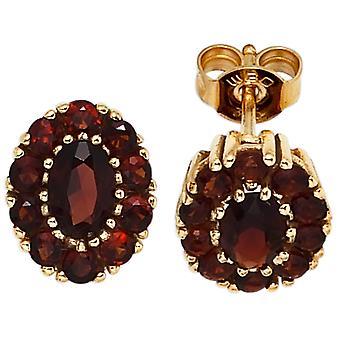Granada brincos 375 ouro amarelo ouro 22 Granada vermelho brincos de ouro joias de Granada
