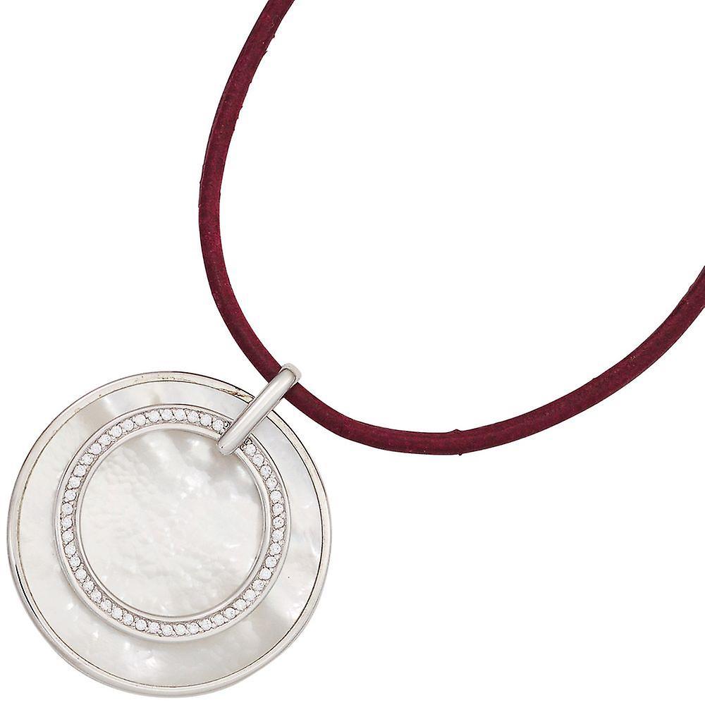 Kette Anhänger 925 Sterling Silber rhodiniert mit Zirkonia 1 Perlmutt-Einlage