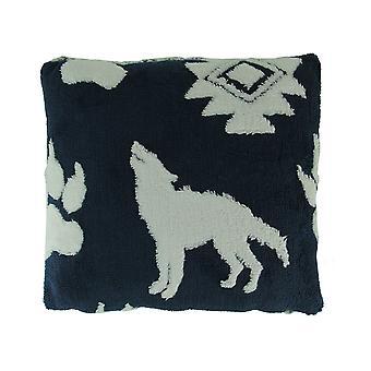 Navy and White Wolf Melange Ultra Soft Plush Fleece Throw Pillow