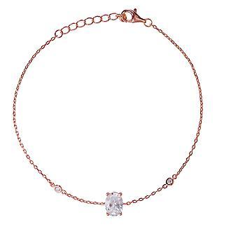 Orphelia-925 zilver steeg armband met middelste steen 19,5 CM ZA-7419