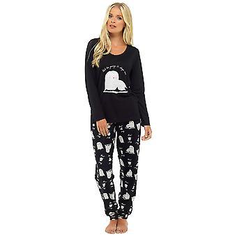 Foxbury Naisten Eläinpainatus Pitkä Fleece Pyjamas - Musta - 12-14