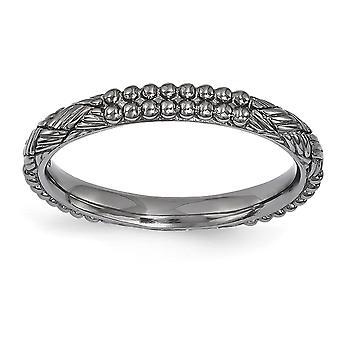 2,5 mm 925 Sterling Silber poliert Ruthenium Beschichtung stapelbare Ausdrücke Ruthenium plattiert gemusterte Ring Schmuck Geschenke