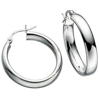 Anfängen Ovalrohr Hoop Ohrringe - Silber