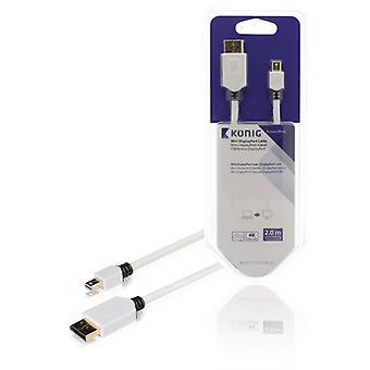 König KNM37400W20 Mini Displayport Kabel Mini Displayport Male - Displayport Male 2,00 M Wit