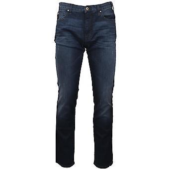 Emporio Armani J45 Slim Fit afligido Jean azul