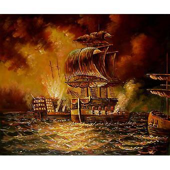 Guerra en el mar, pintura al óleo sobre lienzo, 50x60 cm