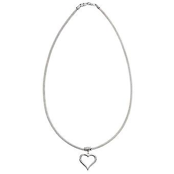 Beginnings Mesh Chain Heart Charm Necklace - Silver