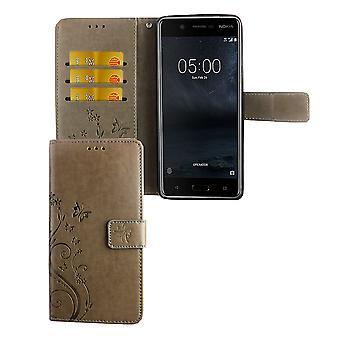 Mobiltelefon fallet för Nokia 5.1 / Nokia 5th 2018 Pocket plånbok skydd täcker fallet grå