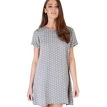 SHN Cuffed Slip Dress In Grey With White Leaf Print