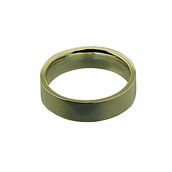 9ct Gold 5mm plain flat Court shaped Wedding Ring Size P
