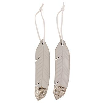 TRIXES 2PC Hanging Feather Xmas Resin Ornaments Grey