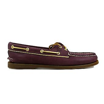 Sperry Authentic Original Wine/Gold Piping STS90180 Women's