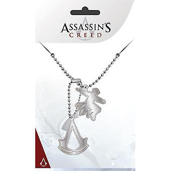 Assassin's Creed Dog Tag Logo silberfarben, aus Metall, zwei Anhänger.