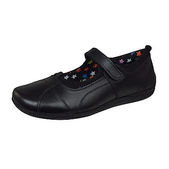 Hush Puppies Cindy Snr Girls Leather School Shoes - Black